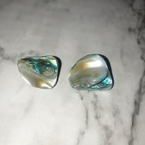Blue iridescent stone earrings